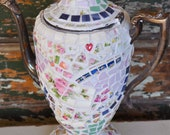 Mosaic Vintage Coffeepot / Teapot with Vintage China, Stained Glass
