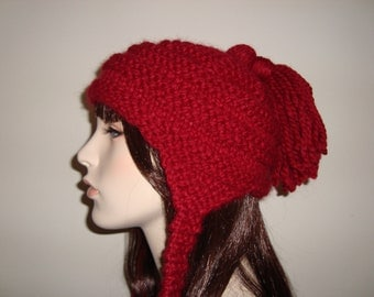 Chunky Earflap Hat- Hand Knit in Cranberry, Machine washable wool Blend, Super Soft and Warm, gifts for her