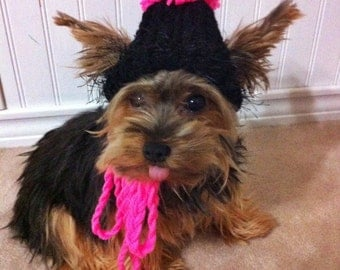 Dog hat - Black and hot pink