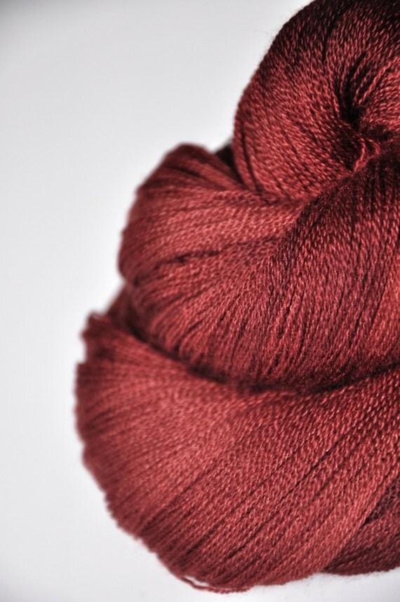 Burned terracotta OOAK - Merino/Silk/Cashmere Yarn Fine Lace weight