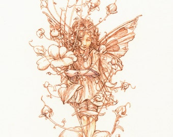 A Flower Fairy 4.5x 8.75 Signed Print