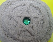 Faux Stone Pentacle with Green Jewel Center