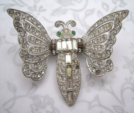 Art deco butterfly or bumble bee moth clip pin