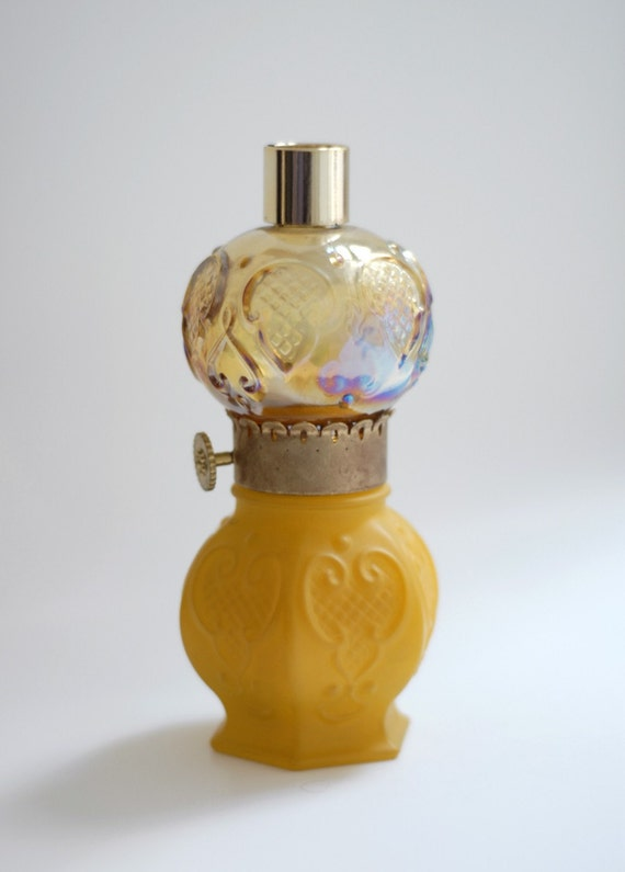 Vintage Victorian Style Parlor Lamp Decanter in Golden Yellow and Iridescent Peach Glass Globe