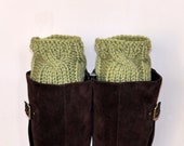 Boot Cuffs Socks CHOOSE COLOR Pea Green Fall Autumn Leg Warmers Cabled Cozy Knit Christmas Gift