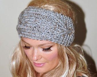 Ear Warmer Crochet Headband Knit Head wrap Braided Earwarmer CHOOSE COLOR Gray Marble Grey Christmas Gift under 50