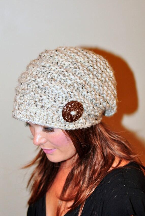 Slouchy Beanie Hat Brim Hat Brimmed Beanie Button Knit Crochet Winter Women Wool CHOOSE COLOR Oatmeal Beige Girly Gift under 50