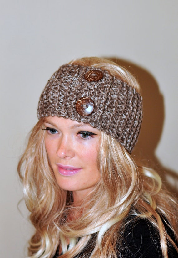 Crochet Hair Wrap : wrap Crochet Headband Ear warmer CHOOSE COLOR Birch Brown Warm Hair ...