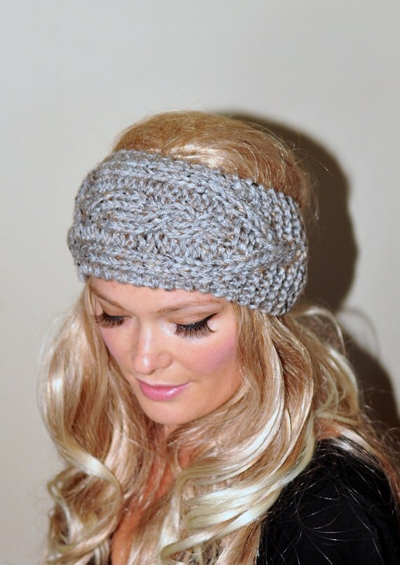 Knitted Head Wrap Pattern Free : Ear Warmer Crochet Headband Knit Head wrap Braided Earwarmer