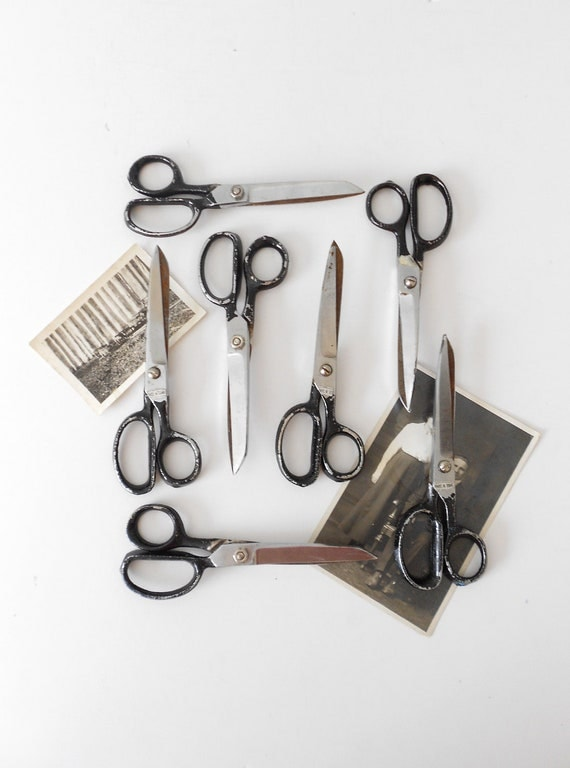 old 1960s industrial school office scissors // single pair