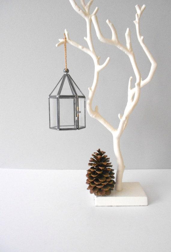 glass display trinket jewelry box // hanging