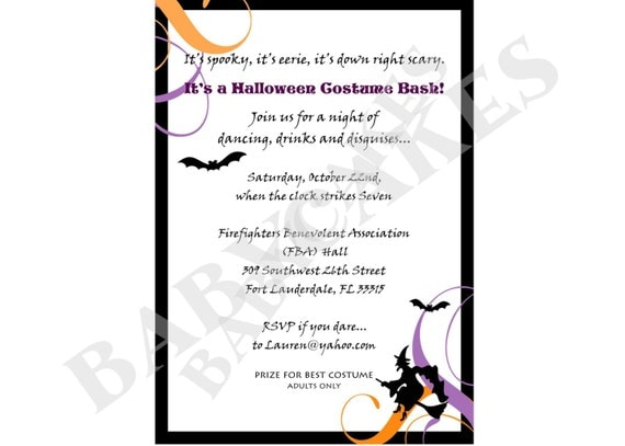 Halloween dress up party invitation wording drive adult halloween party invitation costume party diy by stopboris Images