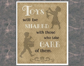 Toys Will Be Shared - 8x10 Word Art Print
