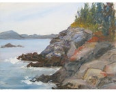 Original impressionistic acrylic landscape painting Cliffs Bay of Fundy Campobello Island Canada 9x12