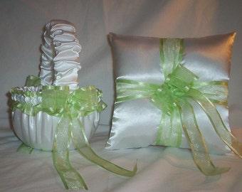 White Satin With Light Mint Green / Melon Ribbon Trim Flower Girl Basket And Ring Bearer Pillow