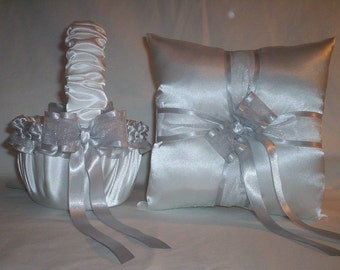 White Satin With Silver Ribbon Trim Flower Girl Basket And Ring Bearer Pillow Set 2