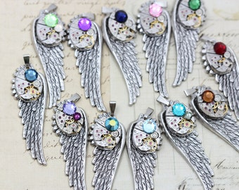 """Mothers Necklace Custom Birthstone Wing Necklace Steampunk Mother or Father Steam Punk Jewelry 24"""" Upcycled - Silver Wing"""