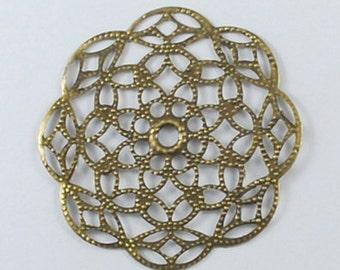 Filigree Pendants-Antiqued Bronze-Filigree Findings-51mm