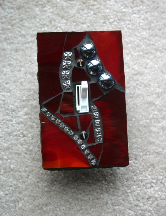 Red Pulse - SINGLE Mosaic Light Switch Cover Wall Plate