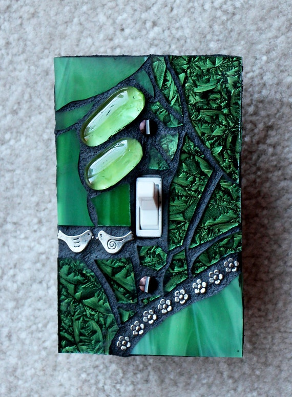 Wall Plate Light Cover : Forest Green Single Mosaic Light Switch Cover Wall Plate