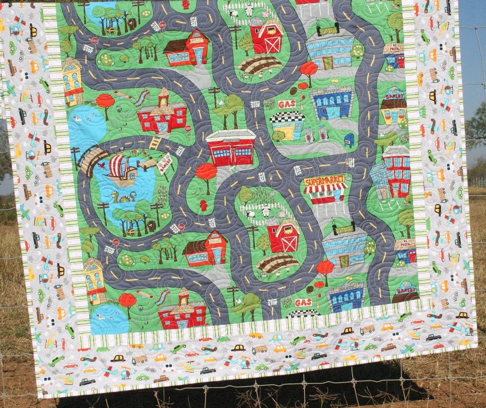 Playmat Quilt Car Track Wheelie Blanket Boy Throw Truck