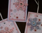 Glittered Snowflake Tags with Rhinestones Set of 3