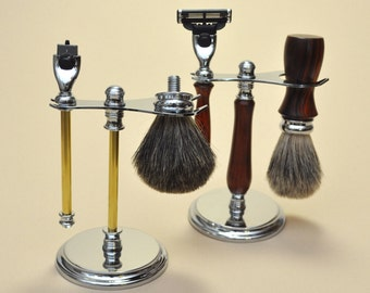 Woodturners Delux Stand Kit for Gillette Mach3 Razor with Razor Handle,Badger Brush and Stand
