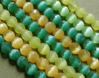 50pcs-Cat Eye Faceted Round Beads Mix Color 6mm.