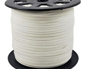 Faux Suede Cord Lace Leather Flat Cord  White 3x1.5mm-20ft