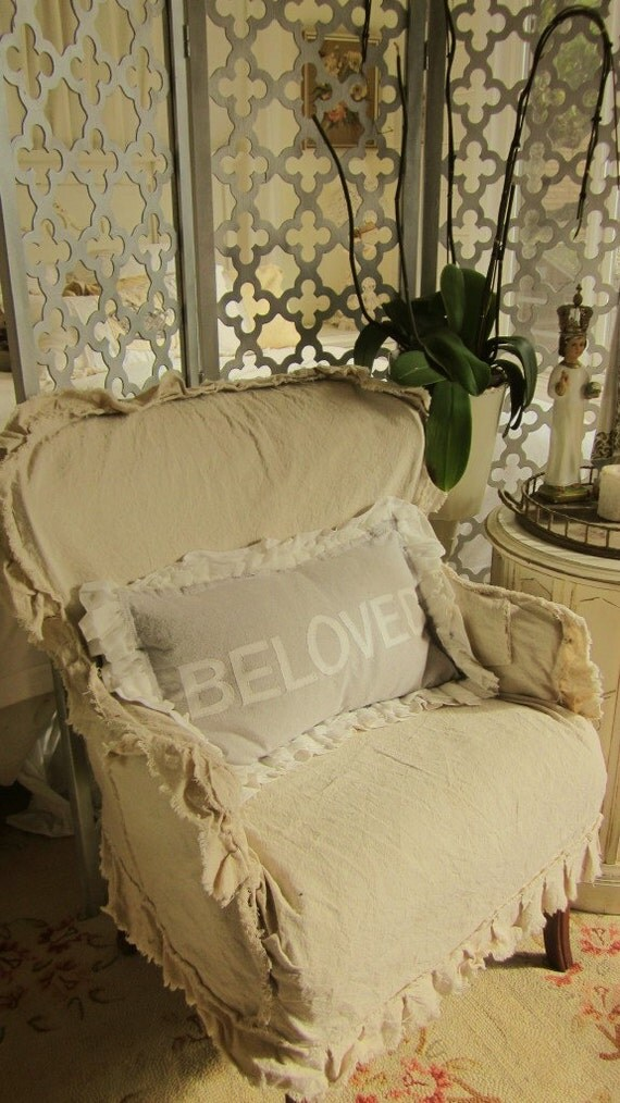 Items similar to shabby chic vintage slip covered chair on Etsy