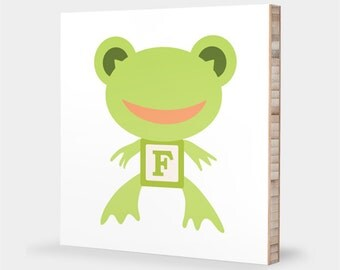 F is for Frog : ABC Block Bamboo Wall Art Series // Alphabet Kids Wall Art Nursery Room Decor Animal Art Baby