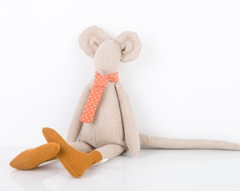 Stuffed animal toy - Plush Natural Canvas Minimalist Mouse , in Peach dotted tie and copper striped socks - Eco Friendly handmade doll
