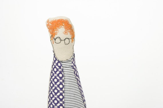 you sure know someone like that  curly Ging guy wearing Purple retro shirt, jeans and glasses - handmad cloth doll