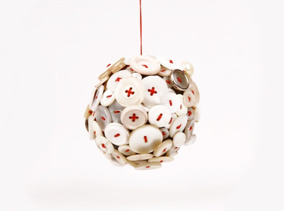 christmas ornament  - Handmade Singular Ball of  White Vintage Button Collection With Red embroidery thread stitching