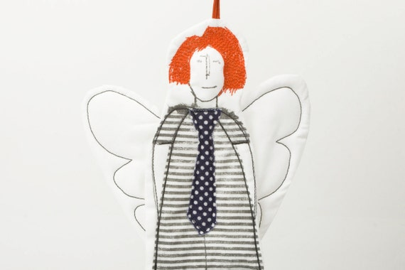 Ging Angel  - Black and white Modern Angel In  orange hair Wearing a striped dress and a polka dot tie - handmade fabric Wall art  doll