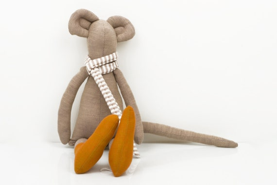Autumn Mouse - Beige brown Mouse Wearing Copper orange socks and  beige and white striped scarf -handmade fabric doll