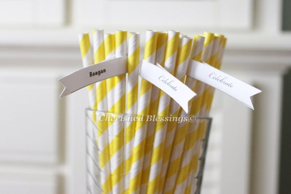 25 Yellow Paper Straws, Striped Paper Straws, Retro Vintage Straws, Carnival Circus Wedding Birthday Bridal Baby Shower  W/ Printable Flags