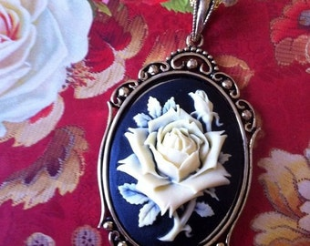 Gothic Victorian Ivory Rose Silhouette Cameo Necklace