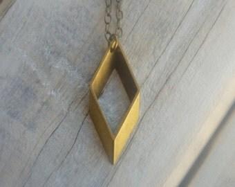 Rhombus Necklace ... Vintage Brass Pendant Geometric