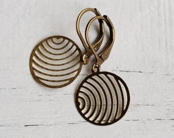 Industrial Circle Earrings ... Vintage Brass Decreasing Circle Shape Modern