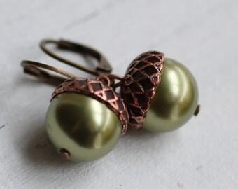 Acorn Earrings ... Green Moss Olive Swarovski Pearl Copper