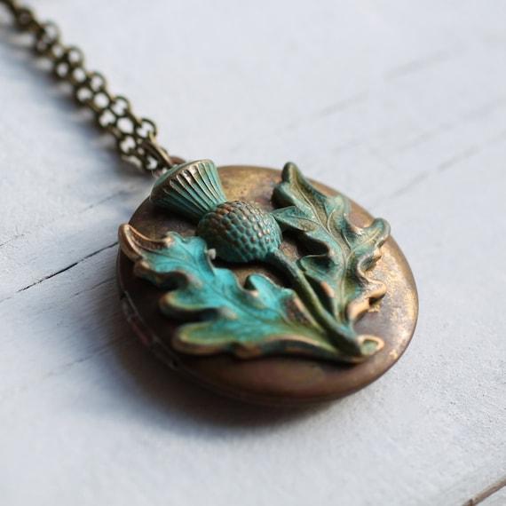 Scottish Thistle Locket ... Vintage Necklace Pendant Scotland Gift