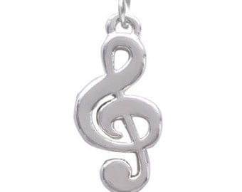 Treble Clef, Silver Plated Charm, Qty.1