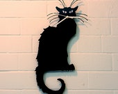 Chat Noir Cat wall Clock (Black)