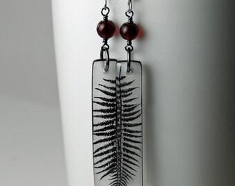 black heart fern resin earrings red bead dangle earrings