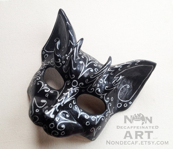 Unique Horned Black and Silver Cat Mask