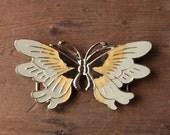 Vintage Butterfly Belt Buckle - Goldtone and Pastel Enameled Metal, Easy No-Sew Loops for Elastic or Ribbon
