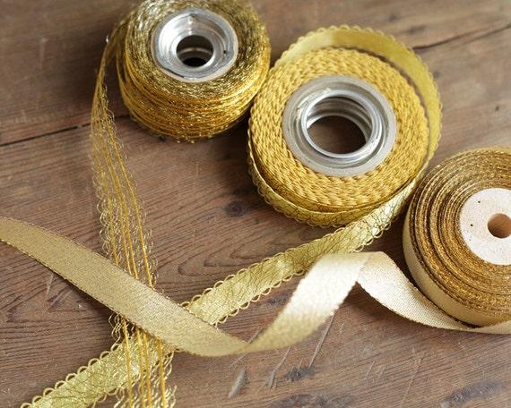 Vintage Gold Ribbon - Metallic Trim, Lot of 3 Spools