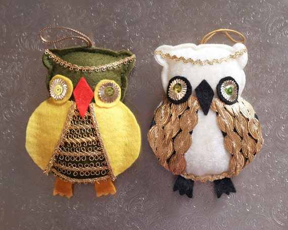 Vintage Owl Ornaments - Pair of Plush Owls, Woodland Holiday Decor
