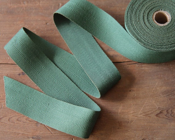 Twill Tape Ribbon, Rustic Spruce Green, 1 1/4 Inch Width -  8 Yard Roll, Entire Spool